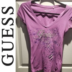 Guess Purple Bedazzled V-Neck T-Shirt